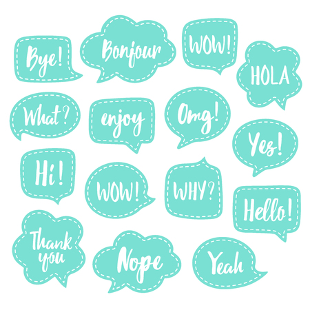 Set of vector speech bubbles with white dashed lines and short popular messages. Foto de archivo - 98362810