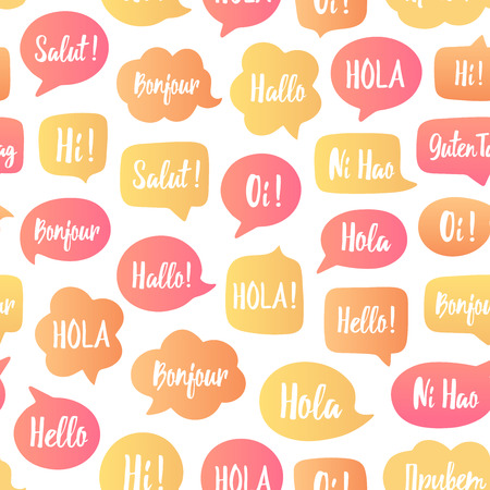 Speech bubbles seamless pattern. Vector background of color bubbles with word hello in different languages.