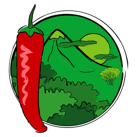 Red chili pepper on the background of a mountain landscape and the rising sun. Vector composition