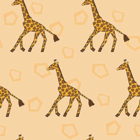손으로 그린 실행 아프리카 기린 원활한 패턴 일러스트