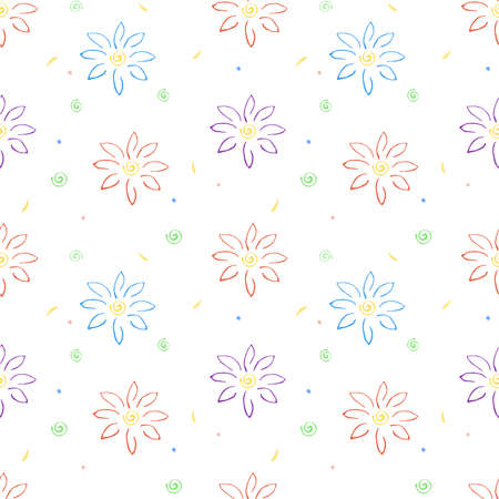 Vector seamless background with light colorful hand drawn flowers