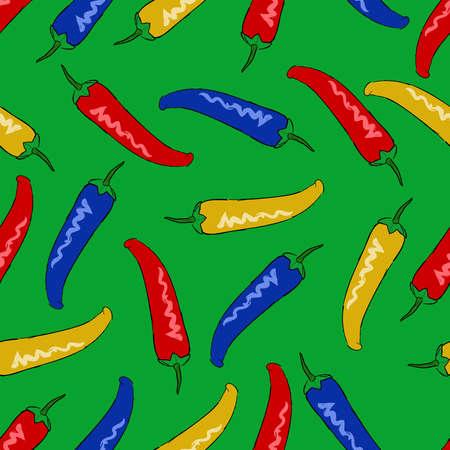 칠리 페 퍼 원활한 패턴 배경 garish 기술 색 깍 지