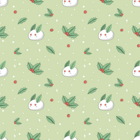Leaves and holly berry and white rabbits made of snow with white round snowflakes. Seamless background.