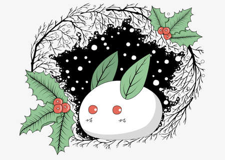 A cute white rabbit made of snow with leaves and holly berries, round snowflakes and black silhouettes of branches. Vector clipart.