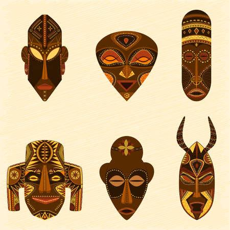 アフリカの部族のマスク ベクトル コレクション