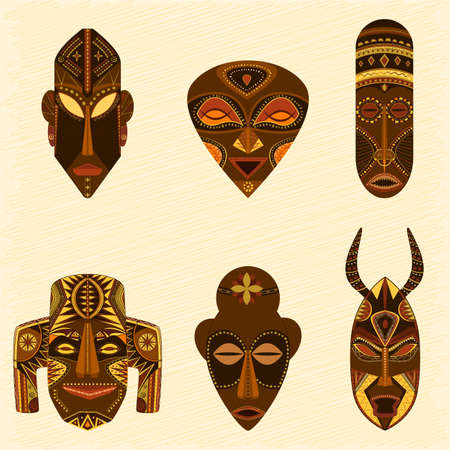 tribal african masks vector collection Çizim