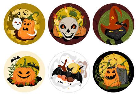 호박, 박쥐, 두개골, 검은 고양이 유령 신비 할로윈 삽화, 벡터 클립 아트