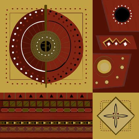 민족적인 아프리카 장식품와 추상적이 고 기하학적 요소, 원활한 벡터 패턴
