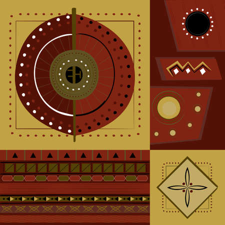 ethnic African ornaments wiht abstract and geometric elements, seamless vector pattern