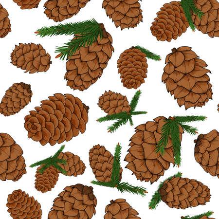 소나무 가지와 소나무 콘 패턴 일러스트