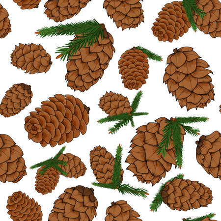 Pine cones with pine branches pattern