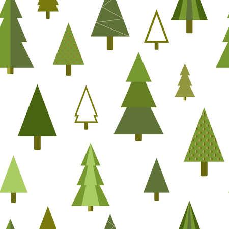 간단한 형상 전나무, 소나무, 크리스마스 나무 원활한 패턴
