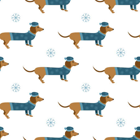 cartoon winter dachshund dogs with hat and sweater with a snowflakes vector seamless background pattern