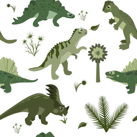 만화 초식 동물과 육식 공룡, 선사 시대 쥬라기와 중생대 고사리와 잔디 벡터 원활한 배경 무늬