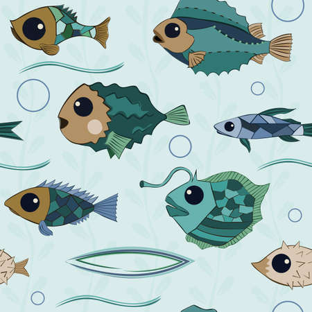 Cartoon fishes with big eyes and mosaic scales with a hand drawn contour, seamless pattern background 일러스트