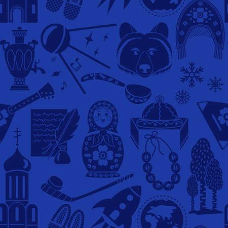 Matryoshka, balalaika, bear and other national symbols of Russia, ethnic, folk seamless pattern background Illustration
