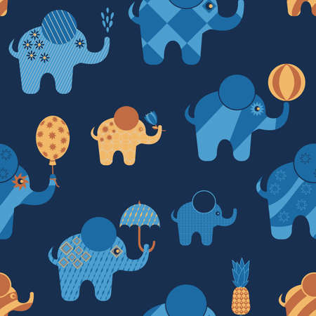 blue cartoon elephants with abstract geometric patterns, with ball, balloon, pineapple, flower, umbrella in trunk, seamless vector pattern background