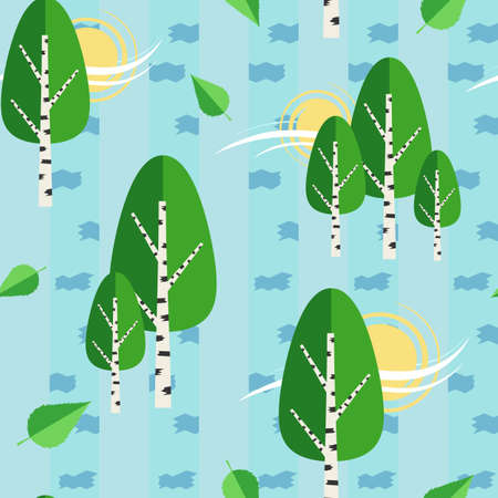 Green birch trees with white spotted trunks vector illustration