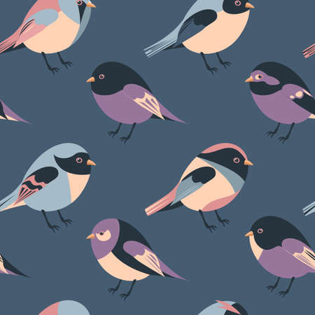 Cartoon feathered and winged purple, red, blue and yellow birds vector seamless pattern background 일러스트