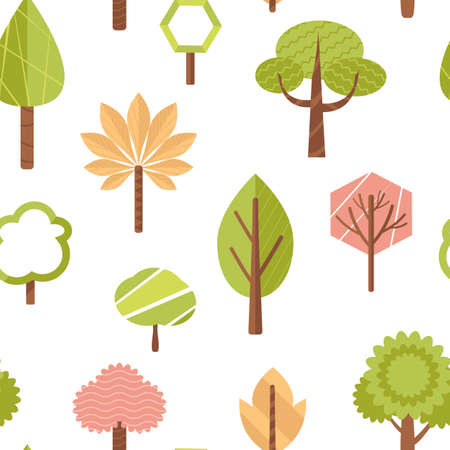 simple geometric cartoon trees in flat style seamless background