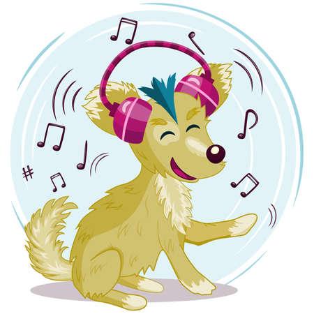 Funny cartoon dog, hound with headphones, earphones listen to music vector illustration