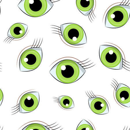 cartoon wide open green eyes vector seamless pattern background 写真素材 - 101926611