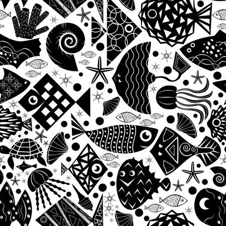 black and white silhouette of сartoon fishes and  underwater sea inhabitants with geometric ornament vector seamless pattern background