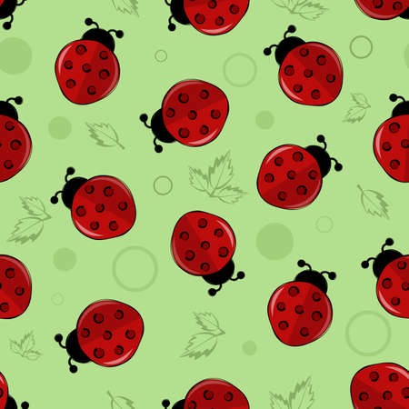 red ladybugs, ladybirds, lucky charms with green leaves and circle vector seamless pattern background