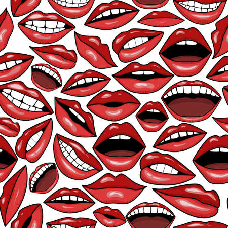 a lot of red lips mouth with teeth and smile in tattoo style vector seamless pattern background 일러스트