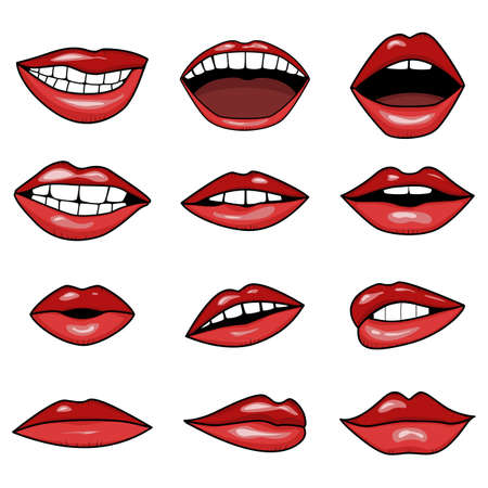 red lips, smile and mouth with teeth in tattoo style vector isolated set collection