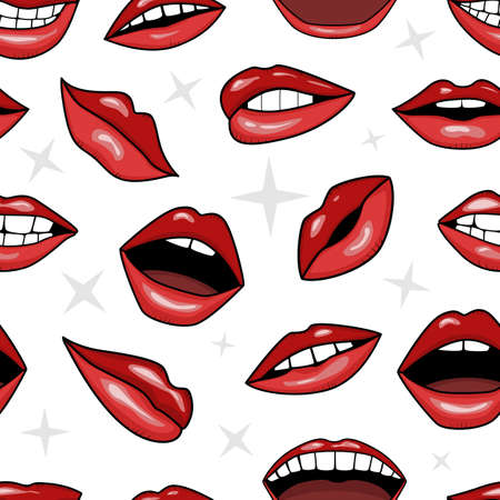 red lips, smile and mouth with teeth in tattoo style vector seamless pattern background