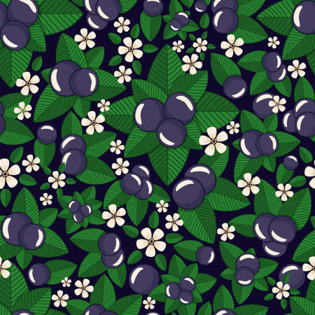 ripe blueberry, blue berry, summertime harvest of bilberry, with flowers and leaves vector seamless pattern background