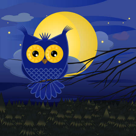 blue owl cartoon sits on a branch against the background of a full moon, a night sky and stars above a pine forest
