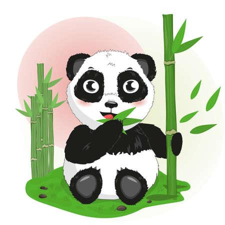cute cartoon little animal Chinese panda bear eats bamboo, vector isolated illustration clipart