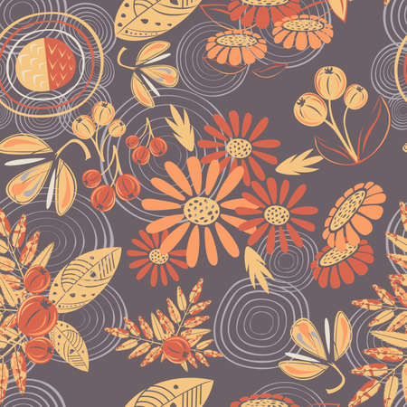 autumn  red, orange and yellow leaves of rowan, flowers of asters and berries of gooseberry vector seamless pattern background Standard-Bild - 107940835