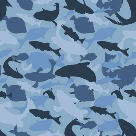 blue camouflage silhouettes of different fishes, protection vector seamless texture