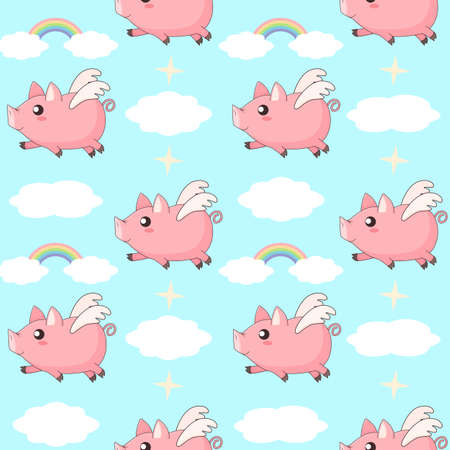 cute cartoon kawaii piglets flying in the sky between clouds and rainbows, vector seamless pattern background