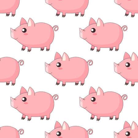 cute cartoon kawaii piglets, piggy standing in profile on white background, vector seamless pattern 일러스트