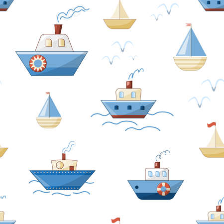 cartoon ships, boats, steamers and yachts with waves and seagulls vector seamless pattern