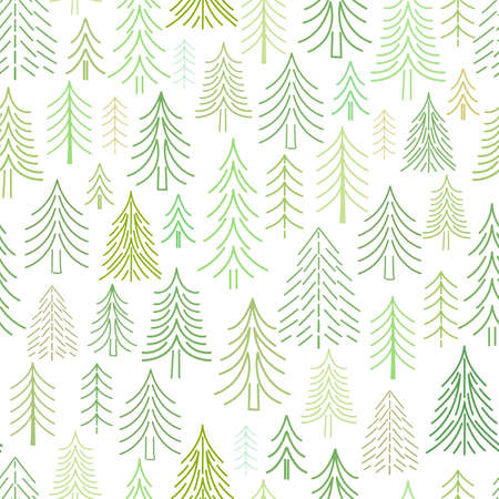 Abstract flat green Christmas trees, firs and pines, drawn by lines and dotted, seamless vector pattern