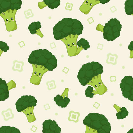 cute cartoon kawaii green vegetable broccoli with smiling face, seamless vector background