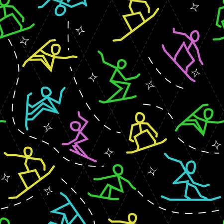 stylized silhouettes of sportsmens snowboarders jump and do tricks, do extreme sports, seamless vector pattern on a black background