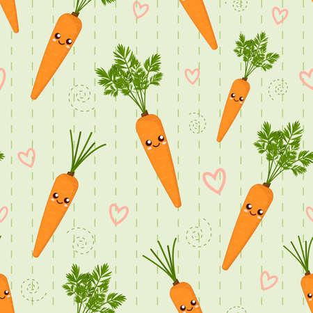 smiling cute cartoon kawaii vegetable carrot, seamless vector background 일러스트