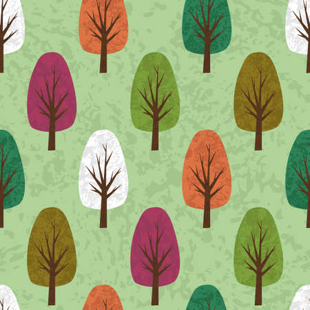 dirty grunge seamless vector background of cartoon foliar trees staggered
