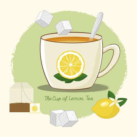 cup of lemon tea, tea bag, ripe lemon, sugar and spoon, vector collection in hand-drawn style