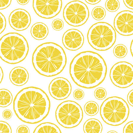 round slices of yellow sour citrus fruit lemon, hand-drawn seamless vector pattern on white background Ilustração