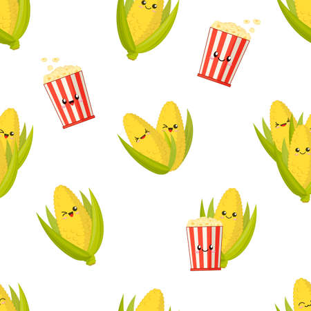 cute smiling corn on the cobs and popcorn buckets, kawaii vector seamless pattern