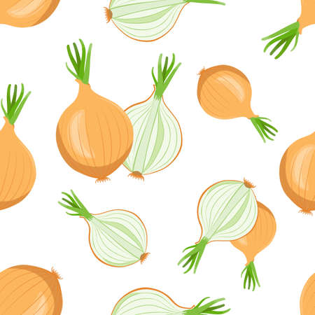 whole and sliced bulbs of onions with green arrows of onion on white background, seamless vector pattern Illustration