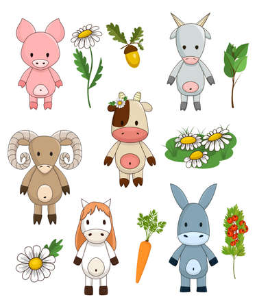 Funny farm animals. Cute toy livestock for children, vector clipart collection. Cow, donkey, goat, sheep, horse, pig and decorative elements like branch, leaves, grass, acorn,chamomile, carrot