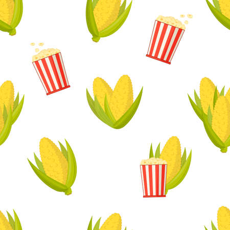 cobs of sweet yellow corn and full buckets of popcorn , seamless vector background 일러스트